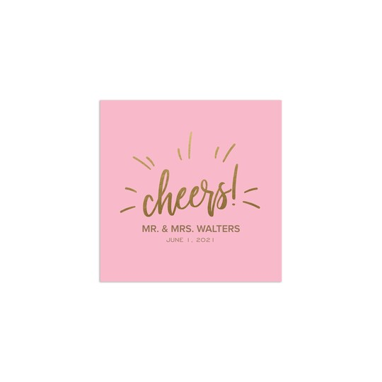 100 Pack of Gartner Studios® Personalized Cheers Foil & Digitally Printed Wedding Cocktail Napkins in Pink | 4.75