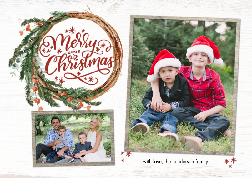 Christmas Photo Cards Flat Glossy Photo Paper Cards with Envelopes, 5x7, Card & Stationery -Christmas Rustic Wreath by Tumbalina