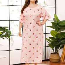 Plus Allover Strawberry Drop Shoulder Night Dress