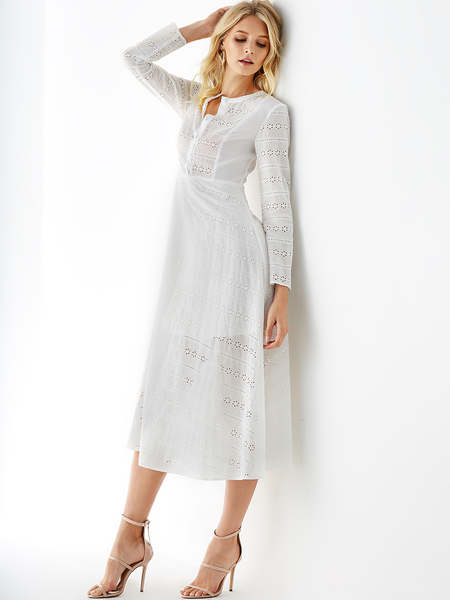 YOINS White Embroidered Hollow Design Long Sleeves Dress