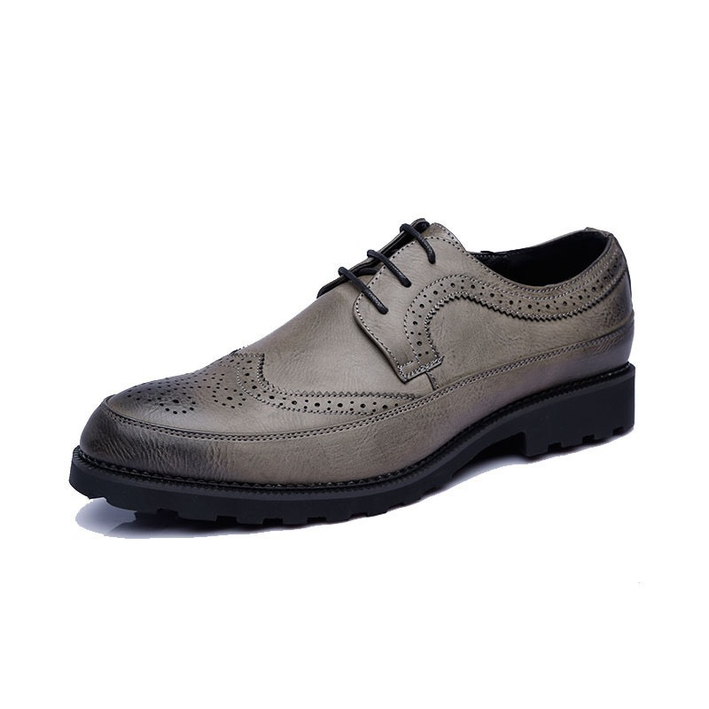 Ericdress Plain Lace-Up Pointed Toe Block Heel Men's Dress Shoes