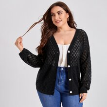 Plus Solid Button Through Drop Shoulder Cardigan