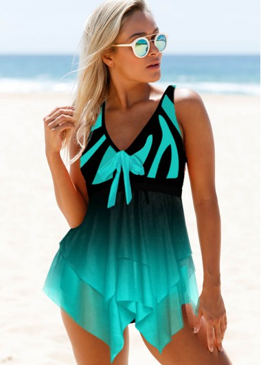 Bowknot Detail Wide Strap Mesh Panel Swimdress and Panty - 12