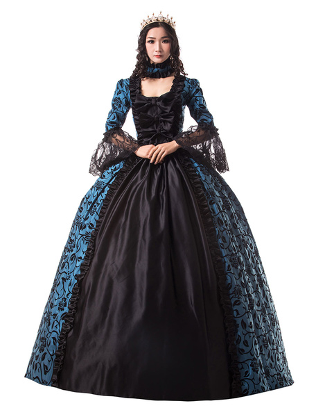 Milanoo Victorian Dress Costume Women's Blue Trim Ruffle Floral Print Victorian Era Style Set Matte Satin Ball with Choker Vintage Clothing Halloween