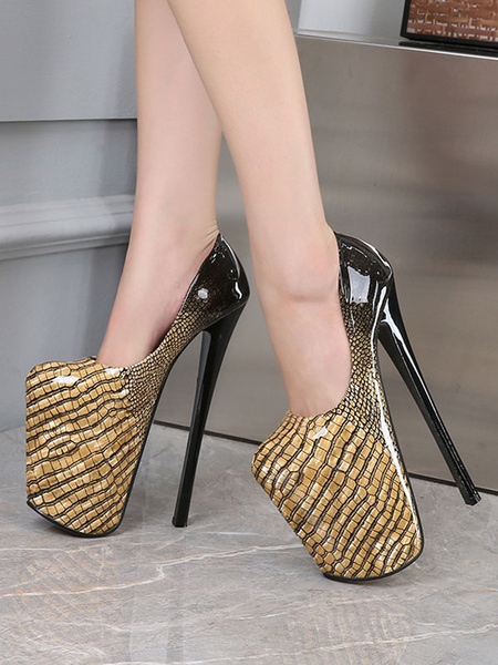 Milanoo Women Platform Shoes High Heels Black Square Toe Sexy Shoes