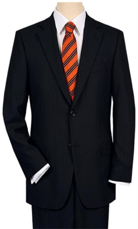 2 or 3 Button Vented without pleat flat front Black Shadow Stripe Suit