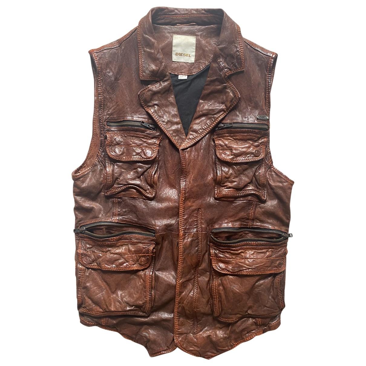Diesel - Vestes.Blousons   pour homme en cuir - marron