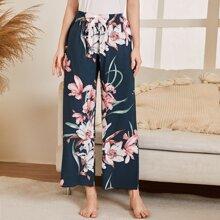 Pantalones de pijama con lazo delantero con estampado floral