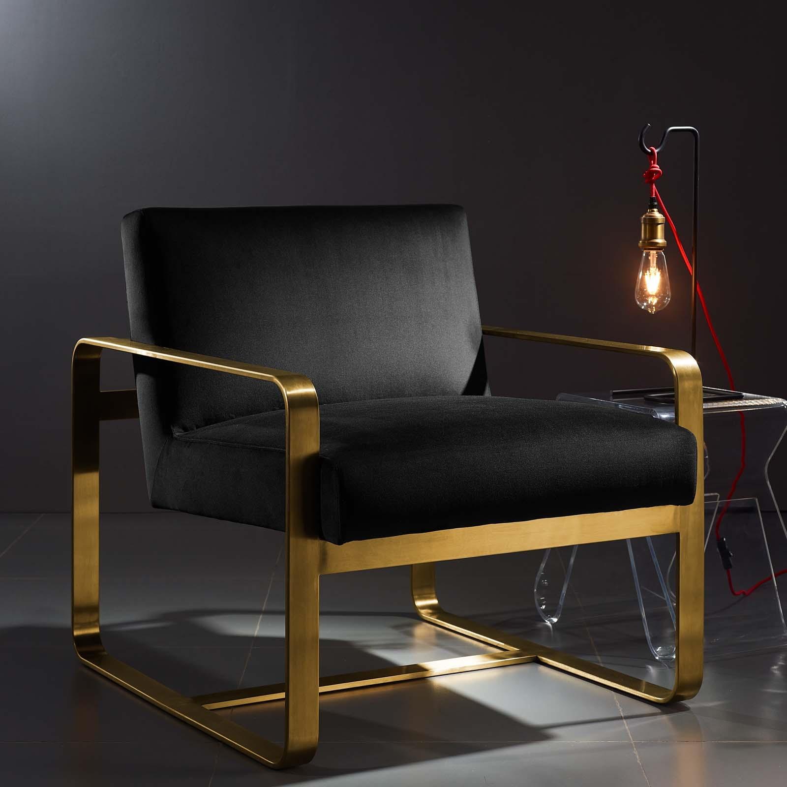 Astute Performance Velvet Armchair in Black