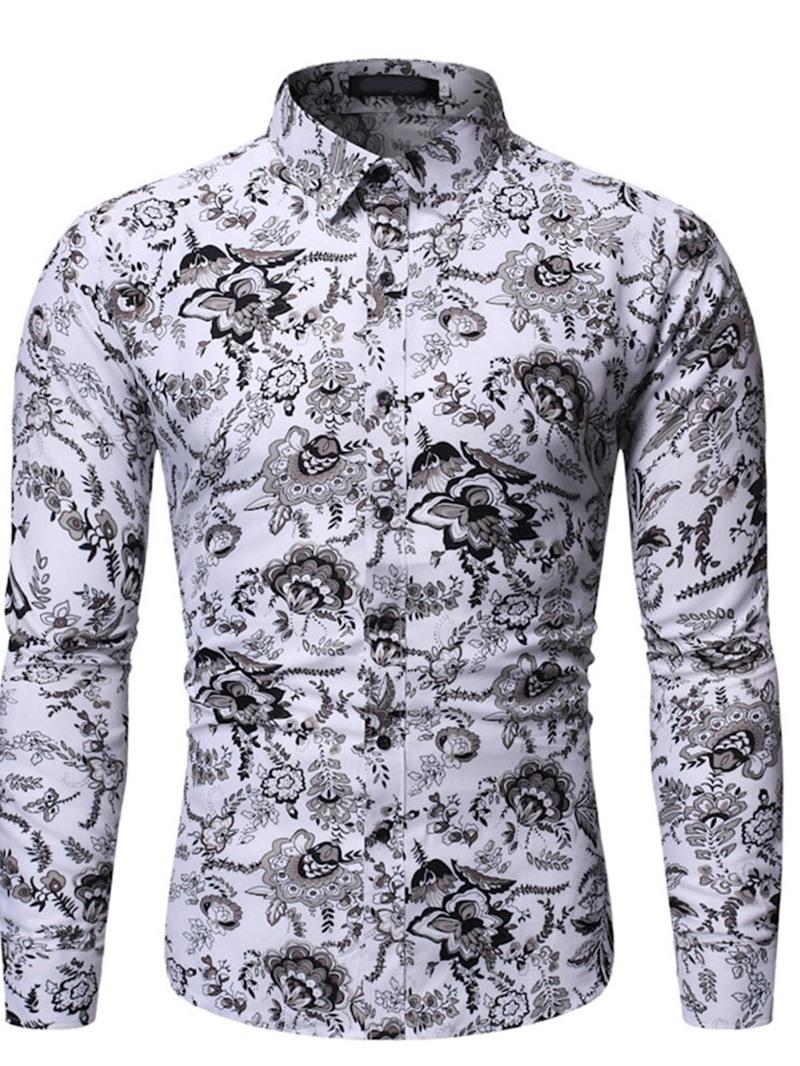 Ericdress Floral European Print Single-Breasted Slim Shirt