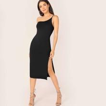 Figurbetontes Kleid mit einer Schulter und Schlitz