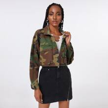 Camo Print Single Breasted Flap Pocket Denim Jacket