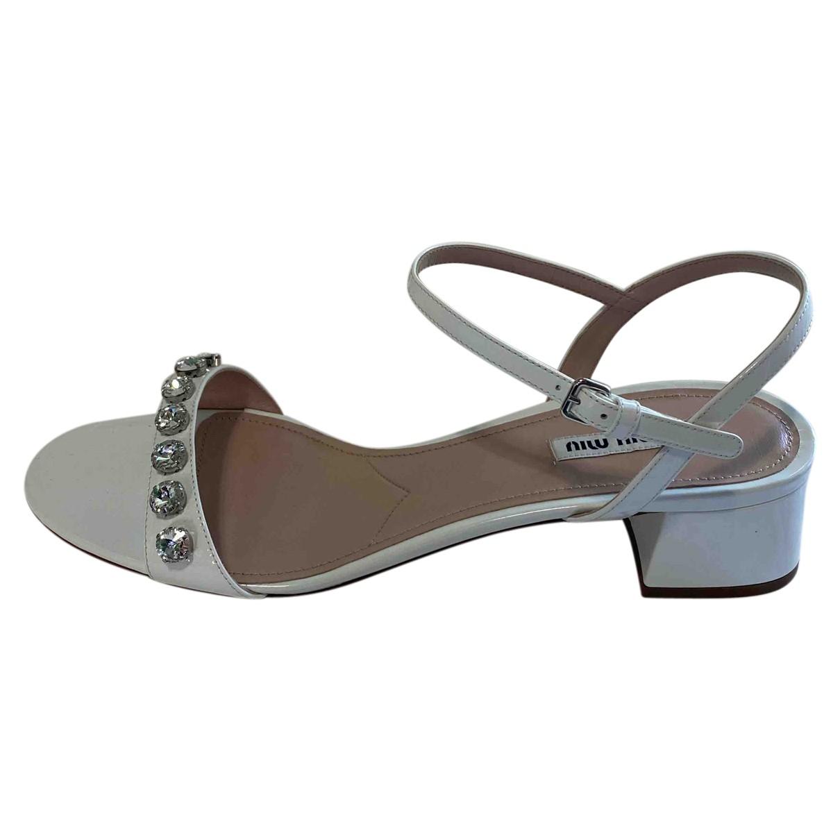 Miu Miu - Sandales   pour femme en cuir - blanc