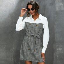 Zweireihiges Kleid mit Hahnentritt Muster und Guertel