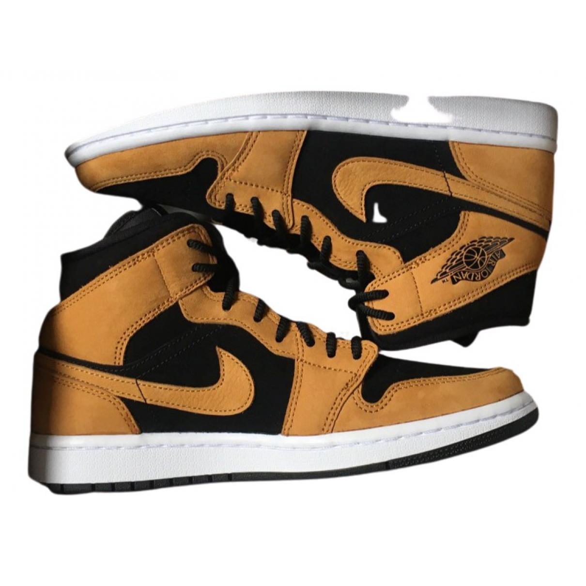 Jordan - Baskets Air Jordan 1  pour femme en cuir - marron