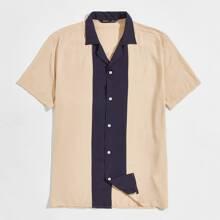 Men Contrast Panel Revere Collar Shirt