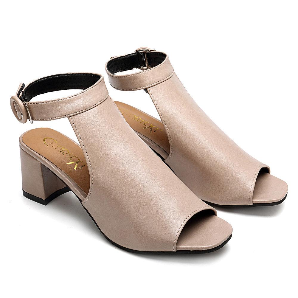 Peep Toe Solid Chunky Sandals