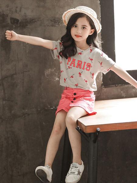 Milanoo Toddler Short Sleeves And Short Skirt Set Polyester Girls Skirt Set