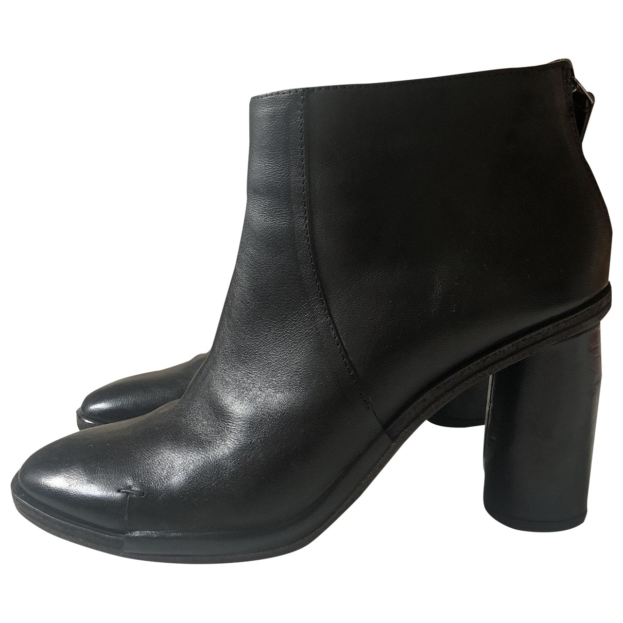 Non Signé / Unsigned \N Black Leather Ankle boots for Women 36.5 EU