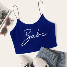 Letter Graphic Rib-knit Crop Cami Top