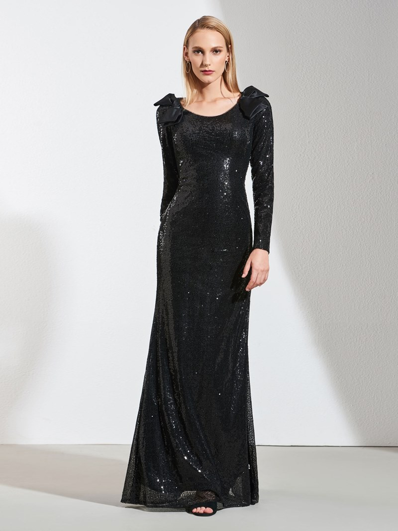 Ericdress A Line Long Sleeve Sequin Black Evening Dress