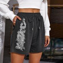 Shorts mit chinesischem Drache Muster und Kordelzug