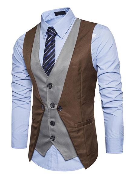 Milanoo Dark Navy Waistcoat V Neck Two Tone Fake Two Piece Style Men'S Vest Suit