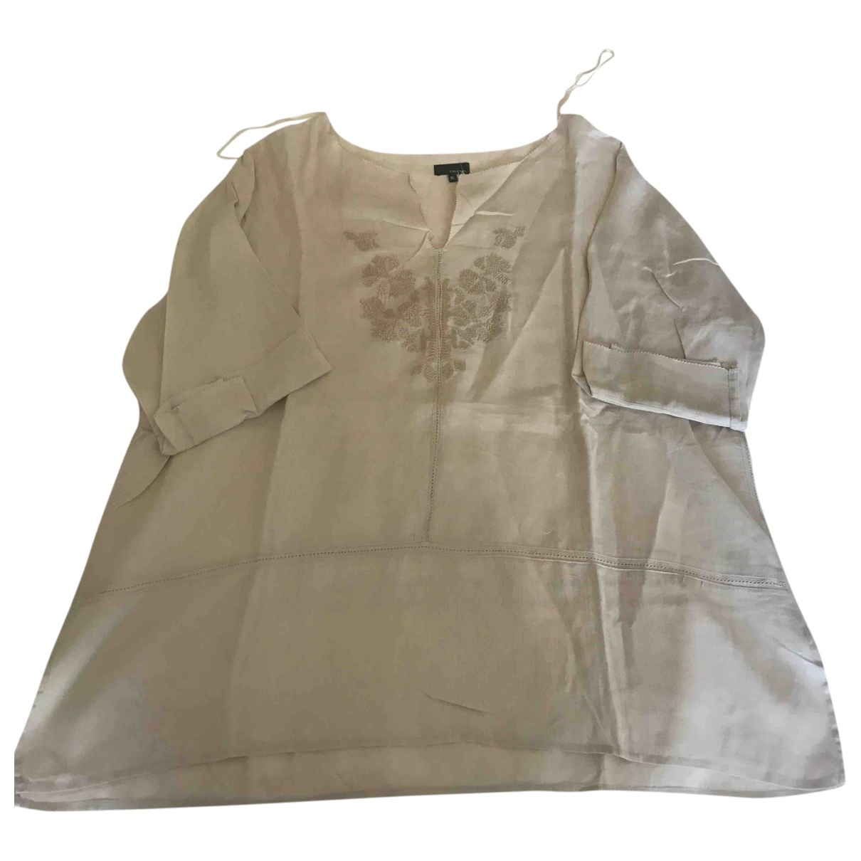 Non Signé / Unsigned \N Beige Linen  top for Women 16 UK