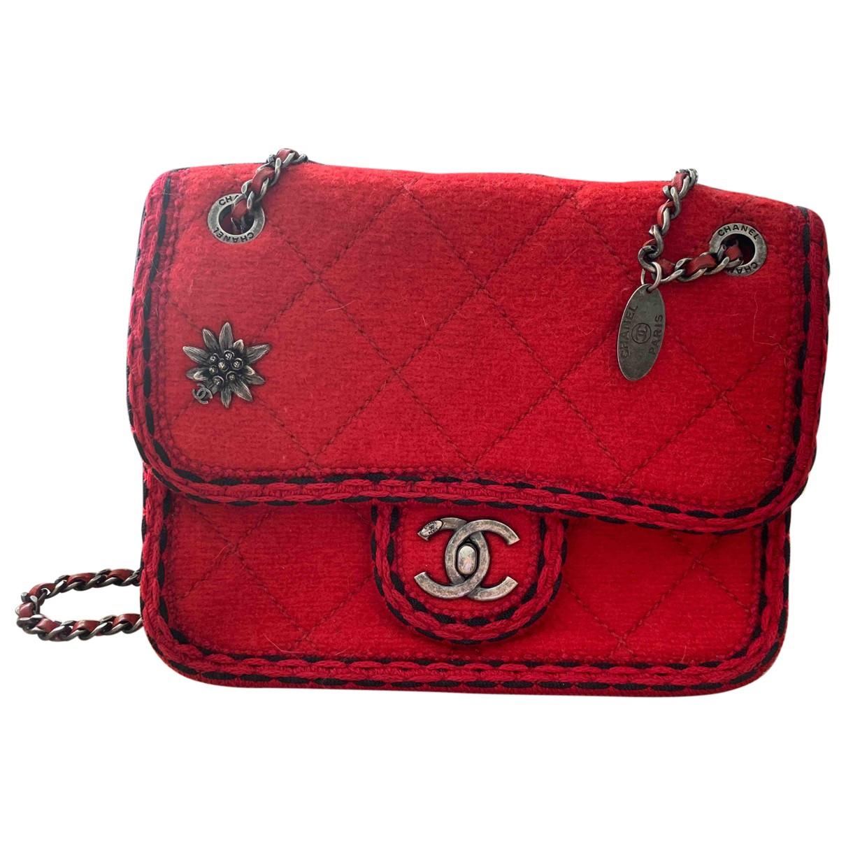 Chanel Timeless/Classique Handtasche in  Rot Tweed