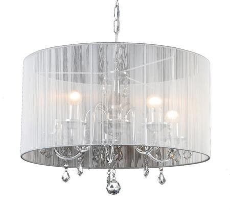8106-5 5-Light Chandelier with Metal and Crystal Materials and 40 Watts in Chrome