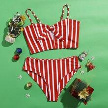 Christmas Striped Knot Bikini Swimsuit