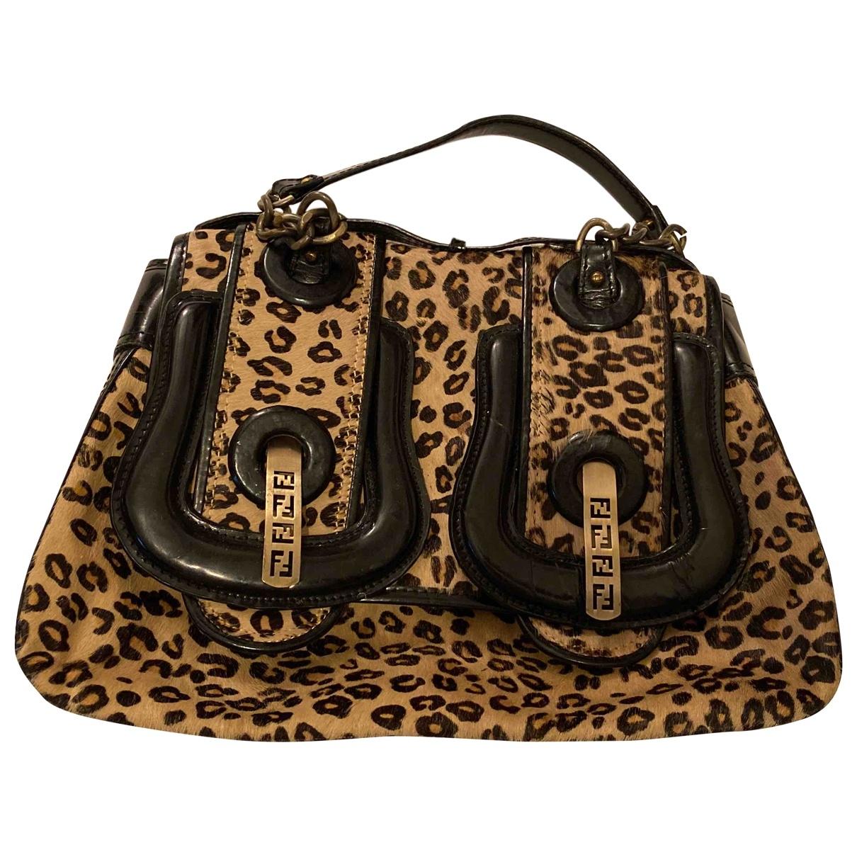Fendi B Bag Handtasche in  Beige Kalbsleder in Pony-Optik