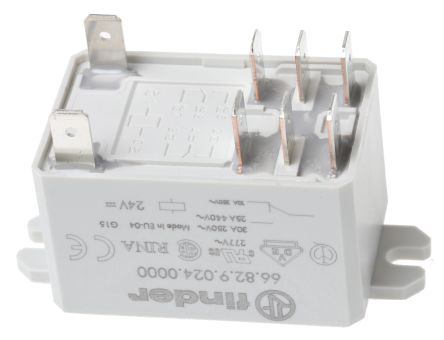 Finder , 24V dc Coil Non-Latching Relay DPDT, 30A Switching Current Flange Mount, 2 Pole