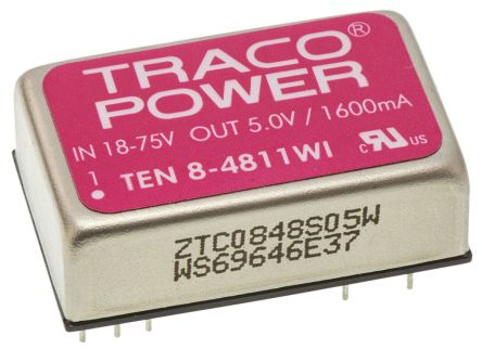 TRACOPOWER TEN 8WI 8W Isolated DC-DC Converter Through Hole, Voltage in 18 → 75 V dc, Voltage out 5V dc Railway