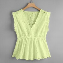 Plus Eyelet Embroidery Scallop Peplum Blouse