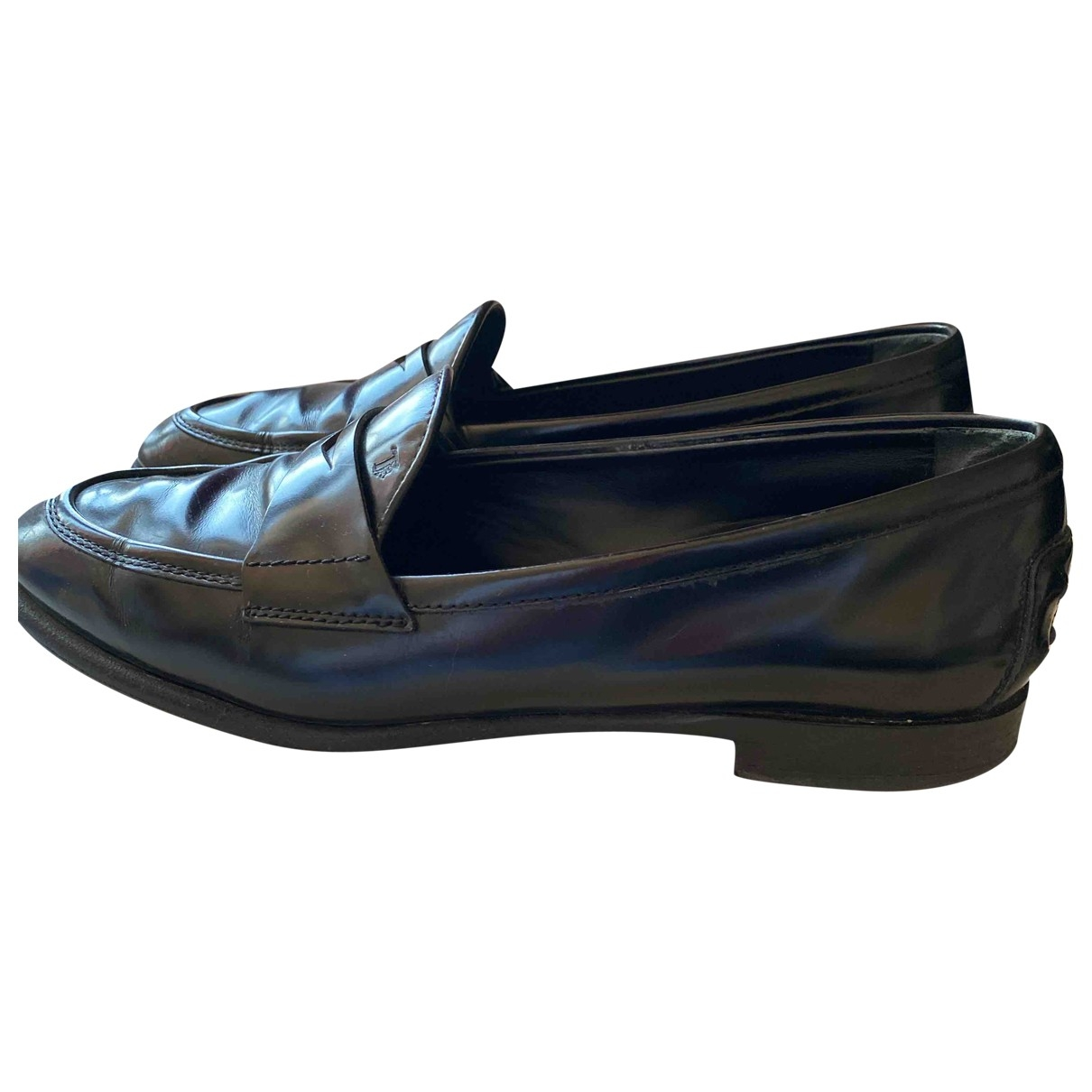 Tod's Gommino Black Leather Flats for Women 38 EU