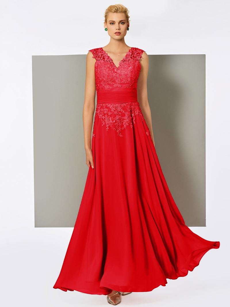 Ericdress A-Line V-Neck Lace Pleats Floor-Length Evening Dress