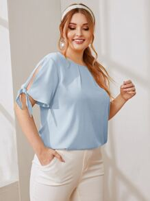 Plus Split Knot Cuff Top
