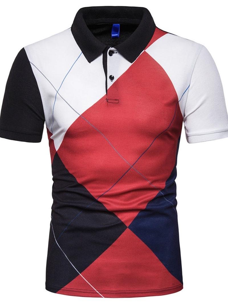 Ericdress Color Block Button Casual Mens Summer Polo Shirt