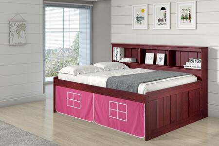 1223-FM_1250-TP Full Daybed Bookcase Captains Bed In Merlot Finish W/Pink Tent