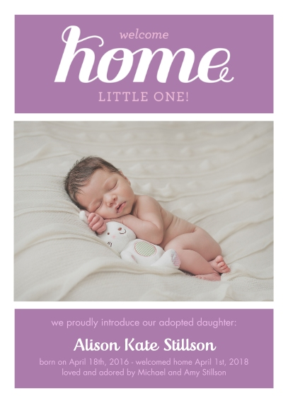 Adoption Announcements 5x7 Folded Cards, Standard Cardstock 85lb, Card & Stationery -Welcome Home Adoption Girl