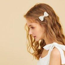 Faux Pearl Decor Bow Shaped Hair Clip