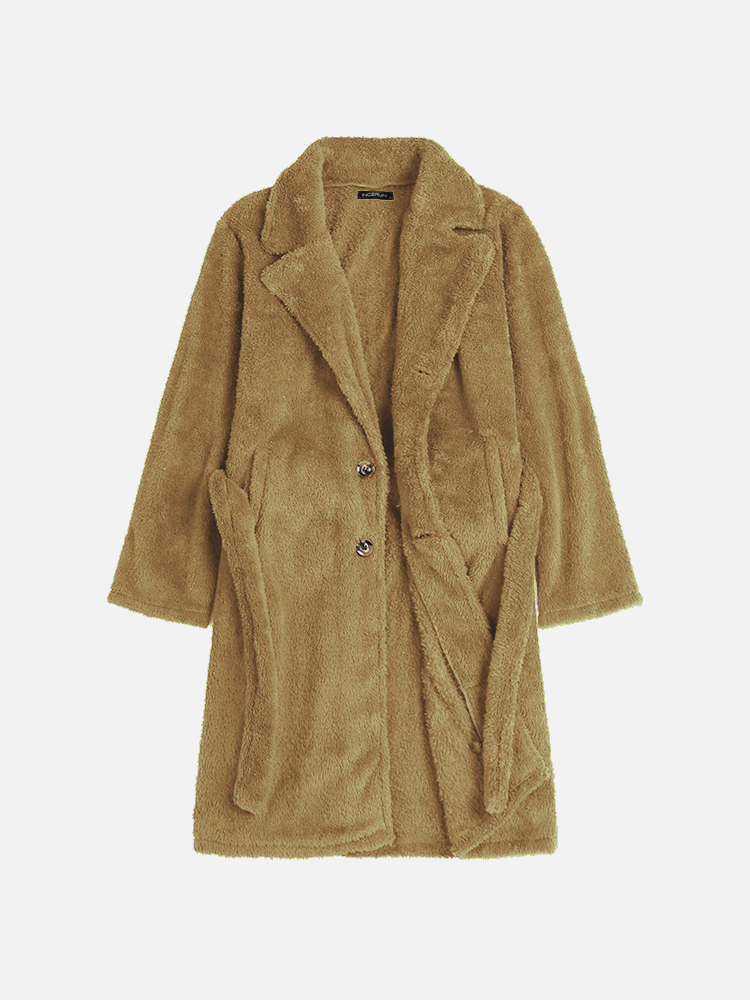 Men's Solid Furry Cardigan Coat