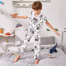 Boys Panda And Letter Graphic PJ Set