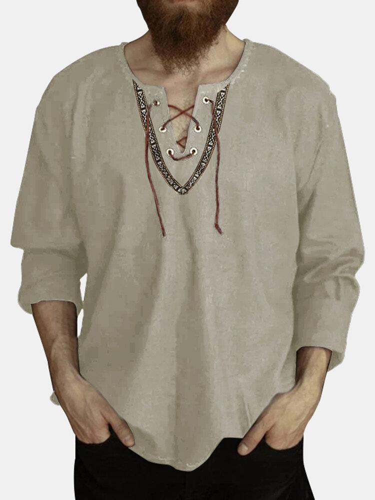 Men Cotton Ethnic Plain Long Sleeve Lace Up V-neck T-Shirt
