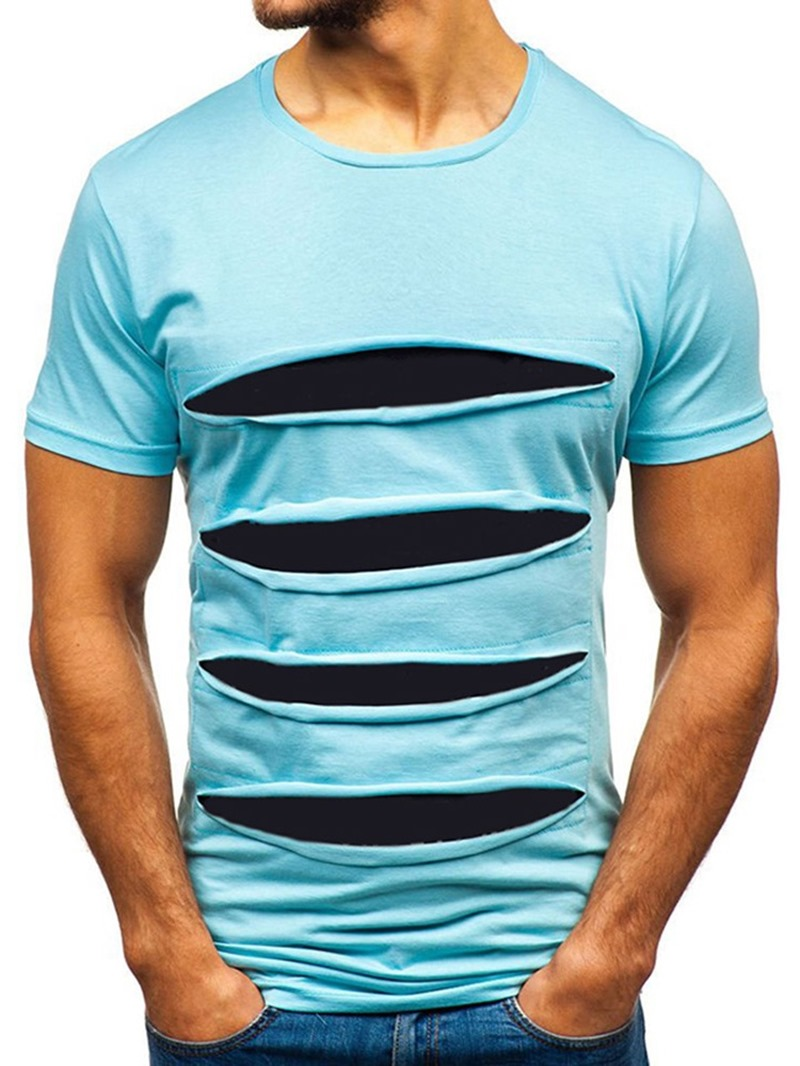 Ericdress Color Block Round Neck Casual Slim Mens T-shirt