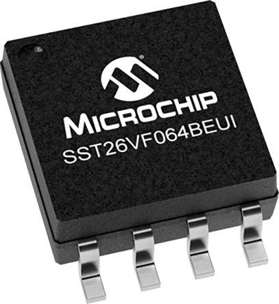 Microchip SST26VF064BEUI-104I/SM, Serial-SPI Split 64Mbit Flash Memory Chip, 8-Pin SOIJ (90)