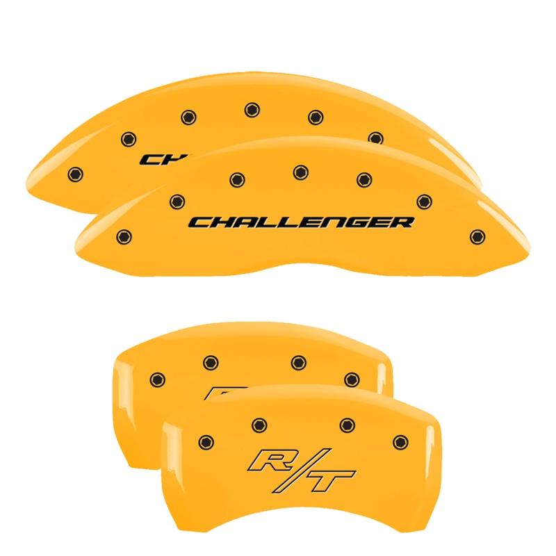 MGP Caliper Covers 12001SCBRYL Set of 4: Yellow finish, Black Challenger (Block) / R/T Dodge