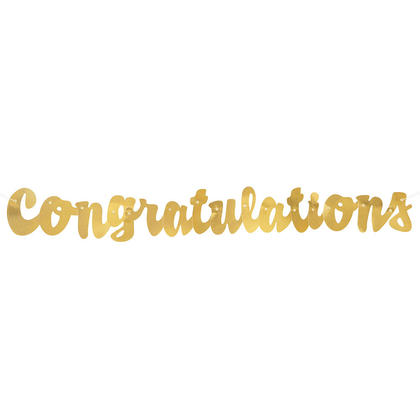 Bannière de félicitations de script feuille d'or pour la fête de célébration, 3,5 pieds
