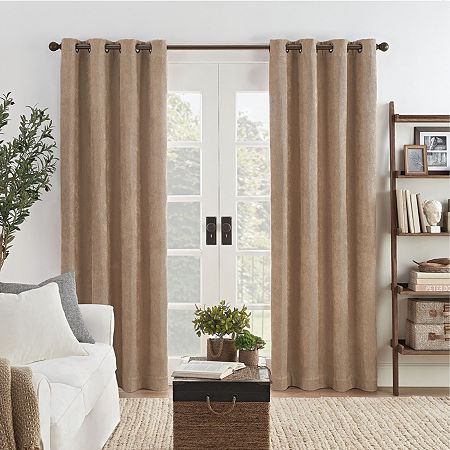 Eclipse Ambiance Draft Stopper Energy Saving 100% Blackout Grommet-Top Single Curtain Panel, One Size , Brown